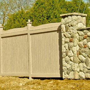 wooden and stone fence