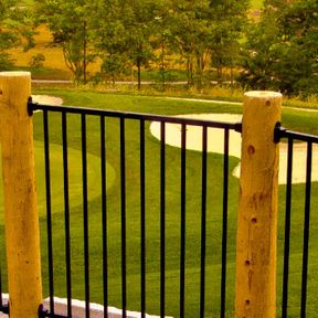wooden iron fence